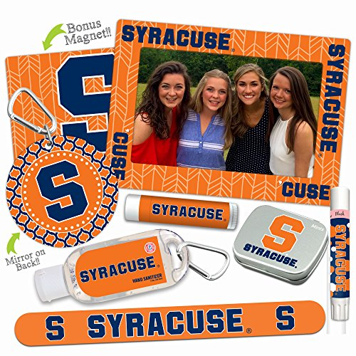 Syracuse Orange—DELUXE Variety Set (Nail File, Mint Tin, Mini Mirror, Magnet Frame, Lip Shimmer, Lip Balm, Sanitizer). NCAA gifts, stocking stuffers. Only from Worthy.