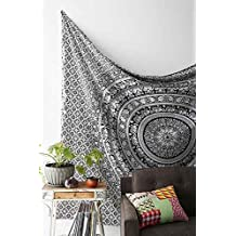 Indian Elephant Mandala Indian Traditional Hippie Cotton Tapestry, Black and White, Twin Tapestry bedspread