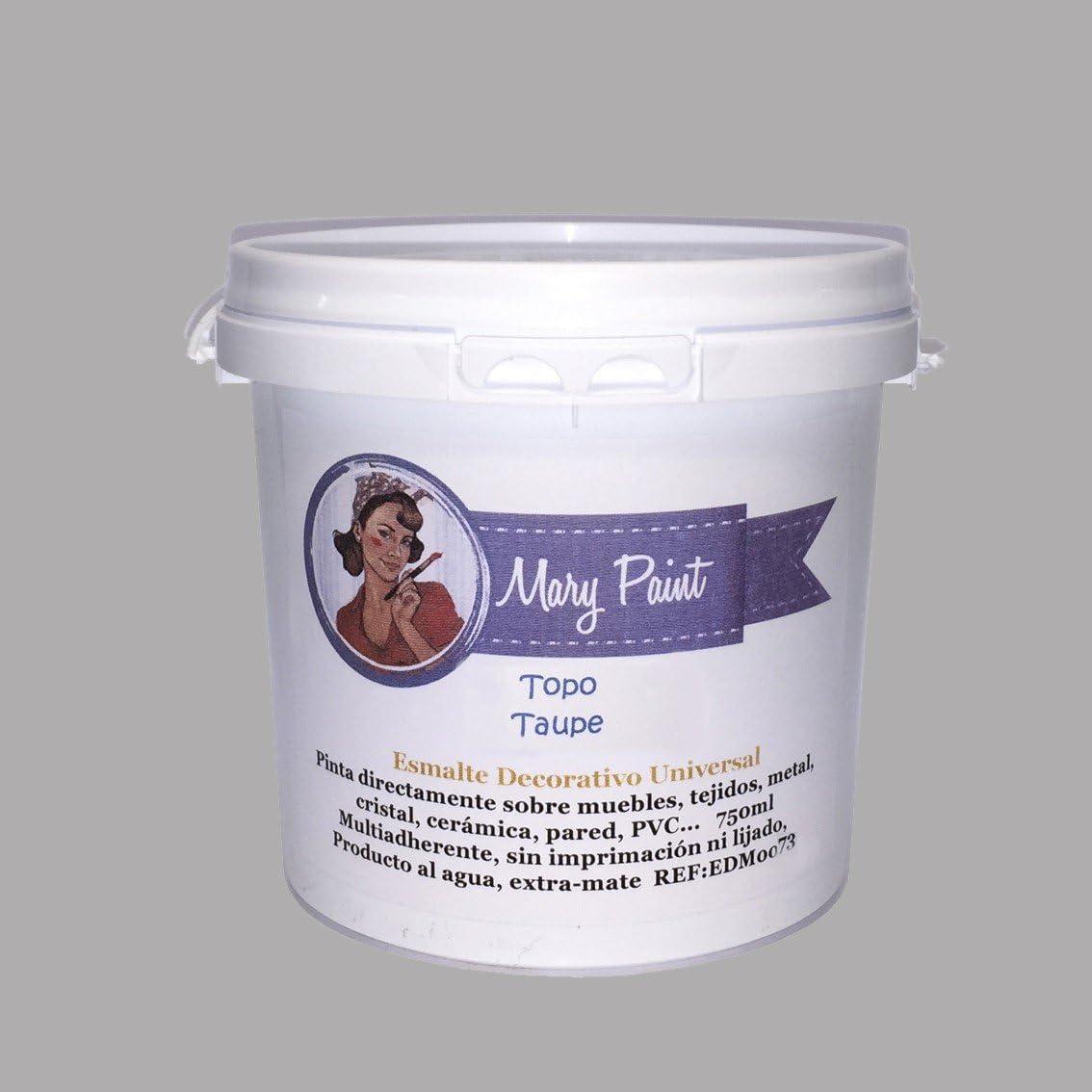 Mary Paint | Pintura para muebles efecto Chalk Paint, Gris Topo - 750ml