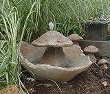 Athena Garden Inc. Garden Fountain, Cast Stone, Mushroom, Cascade, Concrete, Patio & Outdoor, Rock Garden Water Feature For Sale