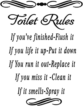 okdeals Toilet Rules Bathroom Decals Removable Wall Quotes Stickers Vinly Art Decor Home Decorations Type 1