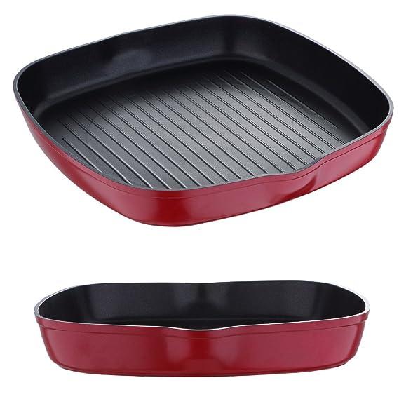 Inducción Sartén 28 cm sartén Grill (Inducción resistente antiadherente Sartén (cuadrada (aluminio, altura 4,5 cm, sin mango, sartén, Rojo): Amazon.es: ...