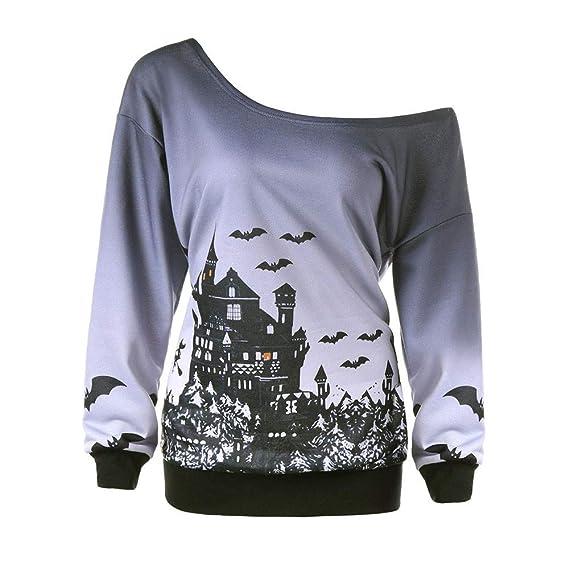 Camisetas 2018 Halloween de BaZhaHei, Sudadera con Estampado de murciélago de Bruja de Halloween para