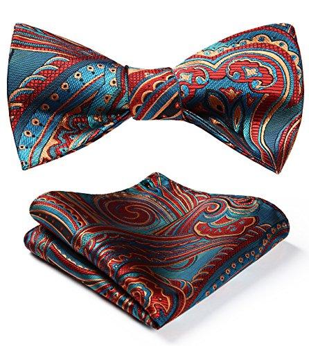 BIYINI Men's Paisley Floral Jacquard Woven Party Self Bow Tie Set Blue/Burgundy