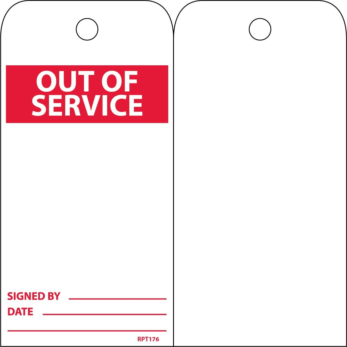 NMC RPT176 Accident Prevention Tag, ''OUT OF SERVICE'', 3'' Width x 6'' Height, Unrippable Vinyl, Red on White (Pack of 25)