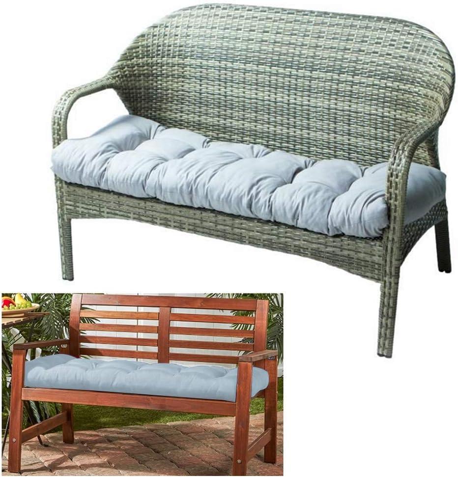Outdoor Bench Seat Cushion Cotton Garden Furniture Loveseat Cushion Patio Non-Slip Lounger Chairs Back Cushions Seat Pillows (Gray)