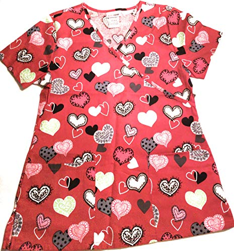 70a1dd6b9bd ScrubStar Womens V-Neck Red Heart Top- Sending Your Love (Small)