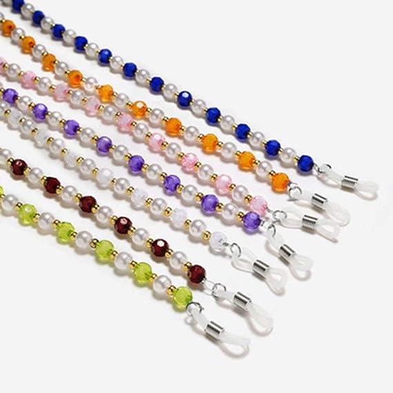 AA-SS Cadena de anteojos Retro con Cuentas de Mano de Siete Colores para Elegir Cadenas Antideslizantes Gafas de Sol Gafas de Lectura Halter con Cordones