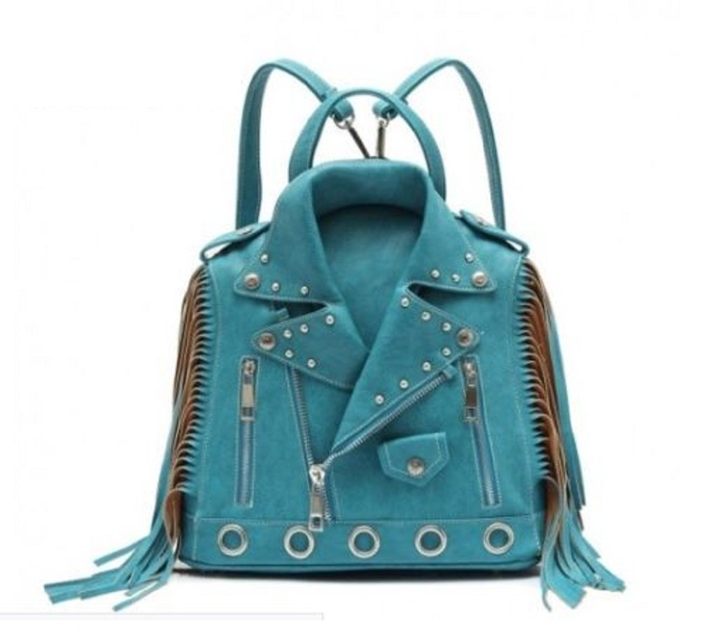 Western Fashion Motorcycle Jacket Fringe Backpack Purse Turquoise by Cowgirl Trendy