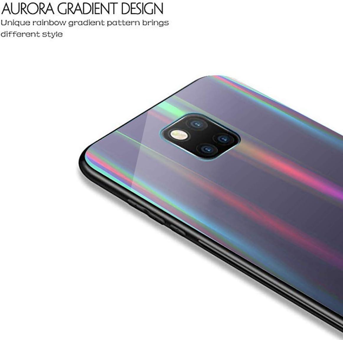 Blue AIsoar Compatible with Galaxy S10e Case,Transparent Laser Aurora Gradient Color Sparkle Bling Glitter Tempered Glass Case Soft Bumper Hard Back Slim Shockproof Protective Cover
