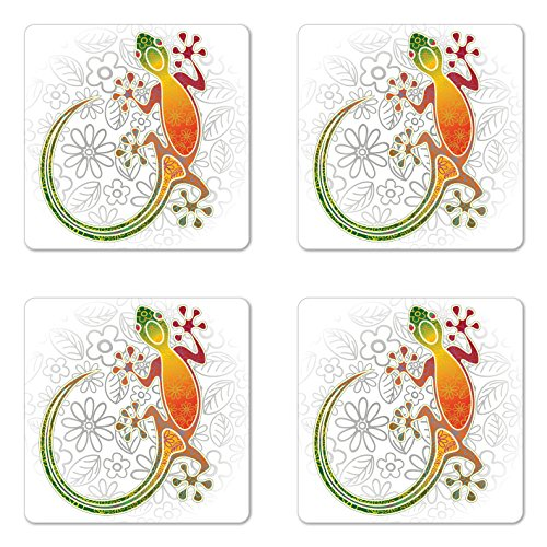 Ambesonne Batik Coaster Set of 4, Native Southeast Common House Gecko Moon Lizard Tropical Monster Graphic Design, Square Hardboard Gloss Coasters for Drinks, White Orange