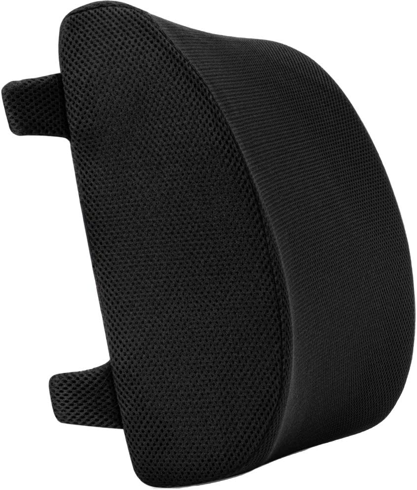 anzhixiu Supportive Memory Foam Lumbar Support Pillow for Chair/Computer Chair Designed to Alleviate Lower Back Pain - Black