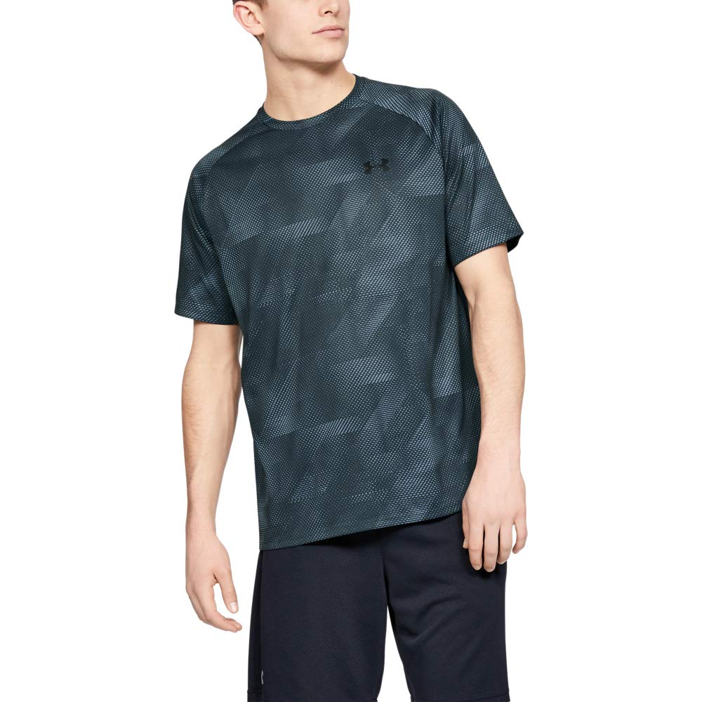 Under Armour Tech Printed Short-sleeve Shirt, Wire (074)/Black, XX-Large by Under Armour