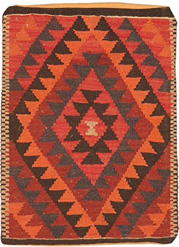 Ecarpetgallery Hand-made Casual Pillows Geometric 2' x 3' Brown 100% Wool area rug by eCarpet Gallery