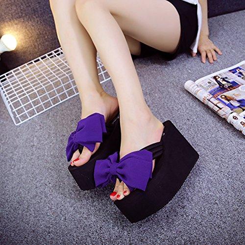 Alto Tacón Pendiente Chanclas Purple Awxjx Inferior Para Pajarita Grueso Seaside C Mujer Desgaste Exterior qxwIgXYS