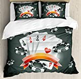 Poker Tournament Decorations Duvet Cover Set by Ambesonne, Artistic Display Spread Chips with Poker Cards Lifestyle, 2 Piece Bedding Set with 1 Pillow Sham, Twin / Twin XL Size, Black White Red