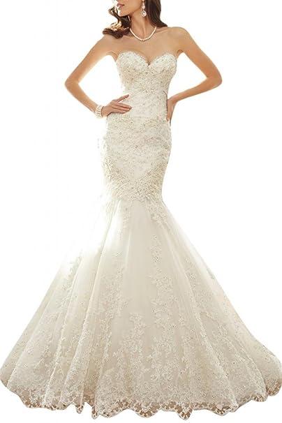 Gorgeous Bride moderna Corazón de pico sirena Punta tuell Vestidos de novia Vestidos de Boda beige