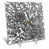 3dRose DYLAN SEIBOLD - MONOCHROME - Dragon Sun Dance - 6x6 Desk Clock (dc_262773_1)
