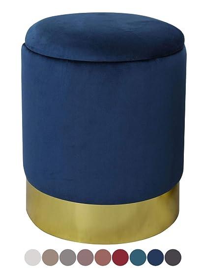 Samthocker Samt Pouf Hocker Gold Metallfuß Messing Sitzhocker Blau Blue