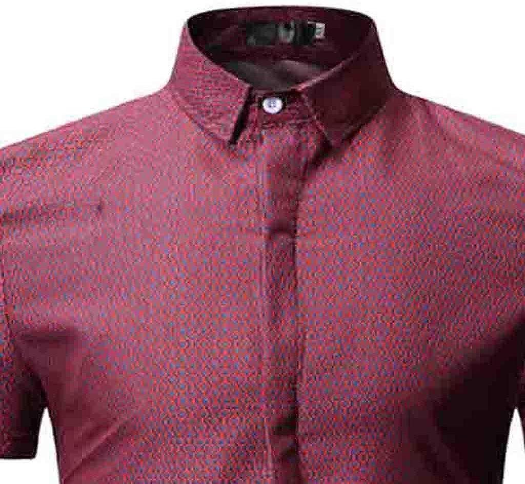 CHENYIHHY Personality Mens Floral Shirt Summer Casual Slim Short Sleeve Shirt Top Blouse Male New Hawaiian Shirt