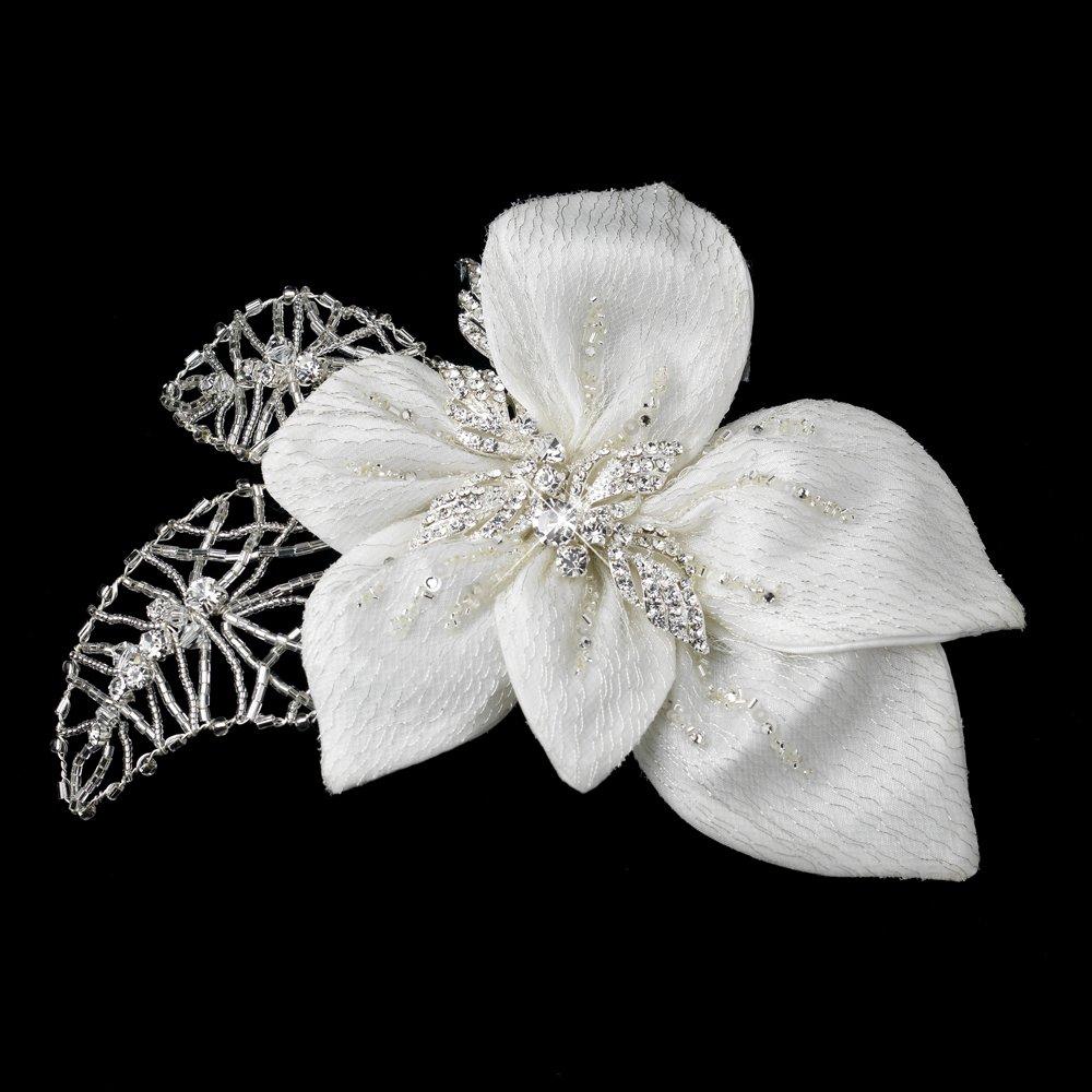 RaeBella Weddings Glamorous Silver & Ivory Fabric Flower Bridal Hair Clip Accented w/ Crystal Bugle Bead Sequins & Rhinestones