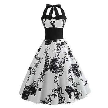 1951d624a68f31 LuckyGirls 50s Retro Vintage Rockabilly Kleid Partykleider Cocktailkleider  Elegant Ärmellos Faltenrock (Weiß2, EU-