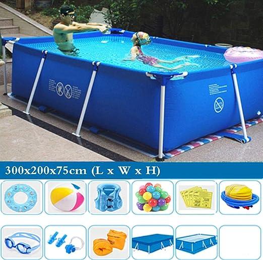TYP Mall Deluxe Splash Frame Pool Desmontable Tubular Piscina para Adultos Grande Y Gruesa Al Aire Libre Alrededor De Los Niños PVC De 3 Capas Prevención De Grietas,300x200x75cm: Amazon.es: Hogar