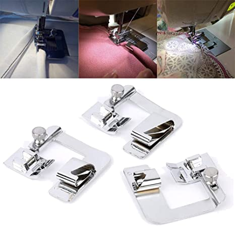 3x//Set Wide ROLLED HEM Hemmer Foot For Domestic Sewing Machines on Presser