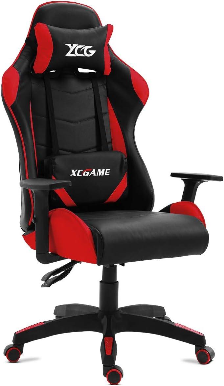 KEWAYES GAMING - Silla Gamer oficina Gaming, sillon Escritorio Despacho giratoria color Rojo, reclinable ajustables apoyabrazos, 5 ruedas