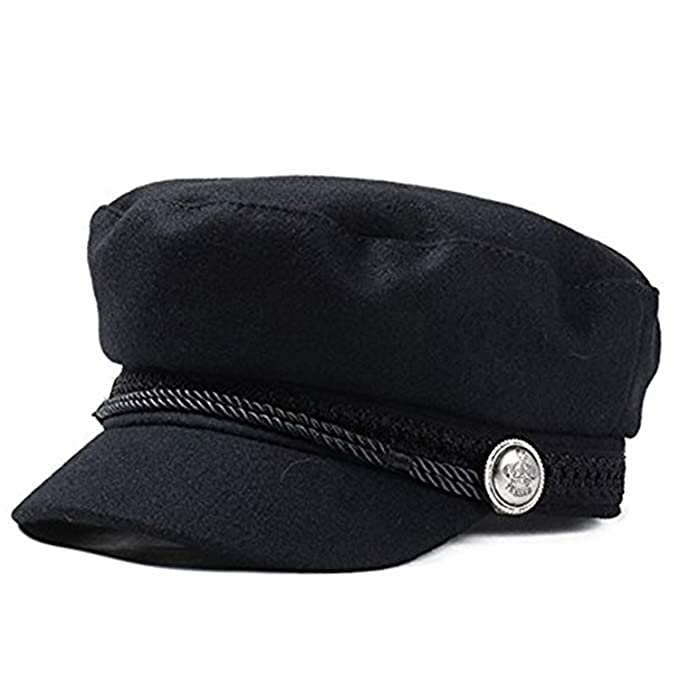 Winter Vintage Hats Women Military Gorras Planas Snapback Caps Casquette Wool Button Beret Sun Octagonal,