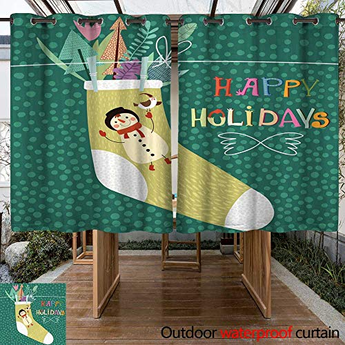 RenteriaDecor Outdoor Curtains for Patio Waterproof Happy Holidays Card in Vector W108 x L72