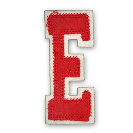 Estilo letras del alfabeto varsity college ropa diseño de rojo de letra E, tamaño: