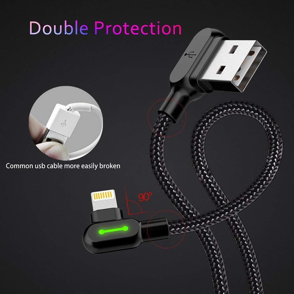 (2 Pack + iPhone Bag) USB 90 Degree Right Angle Design Gaming iPhone LED Nylon Braided Sync Charge New USB Reversible Data 6FT/1.8M Cable Compatible iPhone/iPad Pro/Air ,iPad mini,iPod (6FT Black) by MCDODO (Image #6)