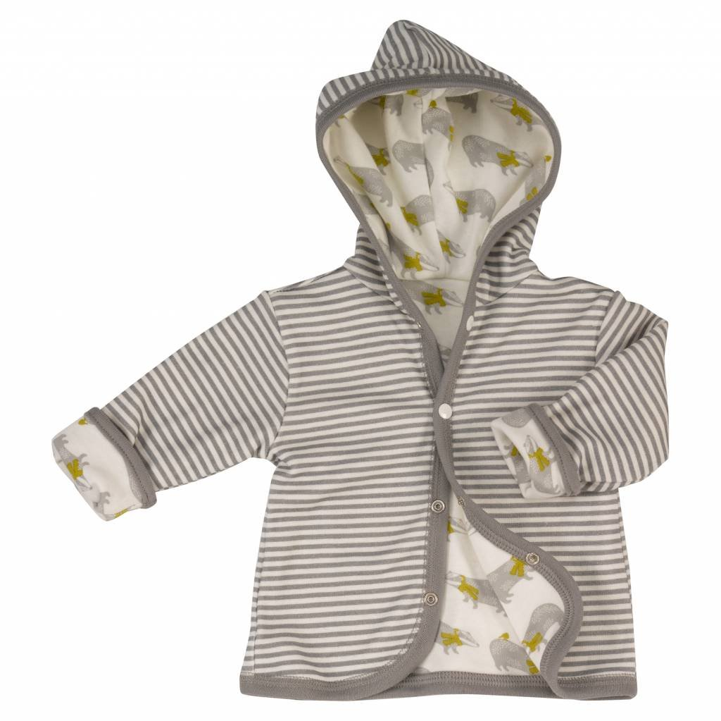 con immagine di tasso Pigeon Organics giacca reversibile con cappuccio