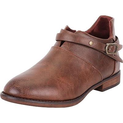 Cambridge Select Women's Strappy Crisscross Low Heel Distressed Ankle Shootie: Shoes
