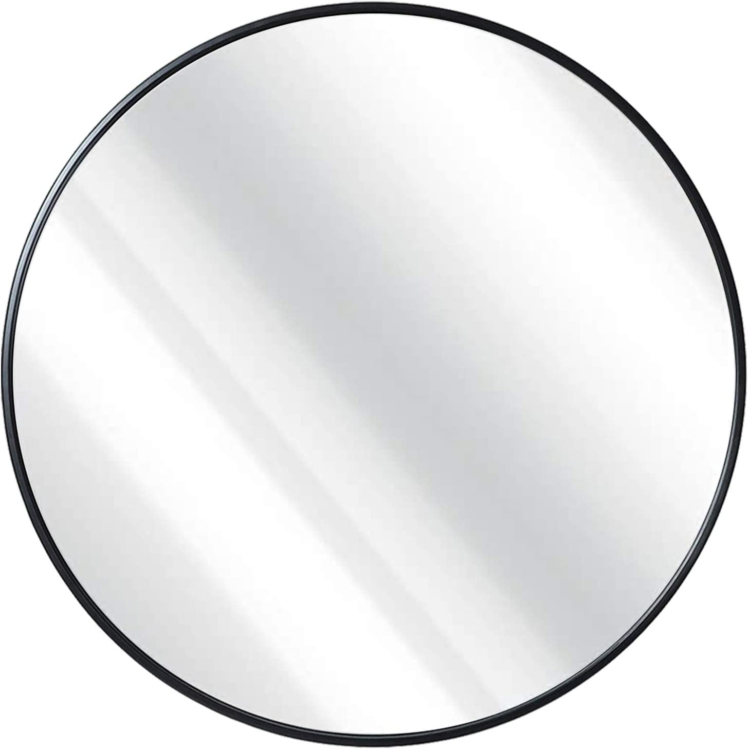 42'' Wall Mounted Round Mirror, Metal Frame Large Circle Mirror for Washing Room, Living Room, Home Decoration