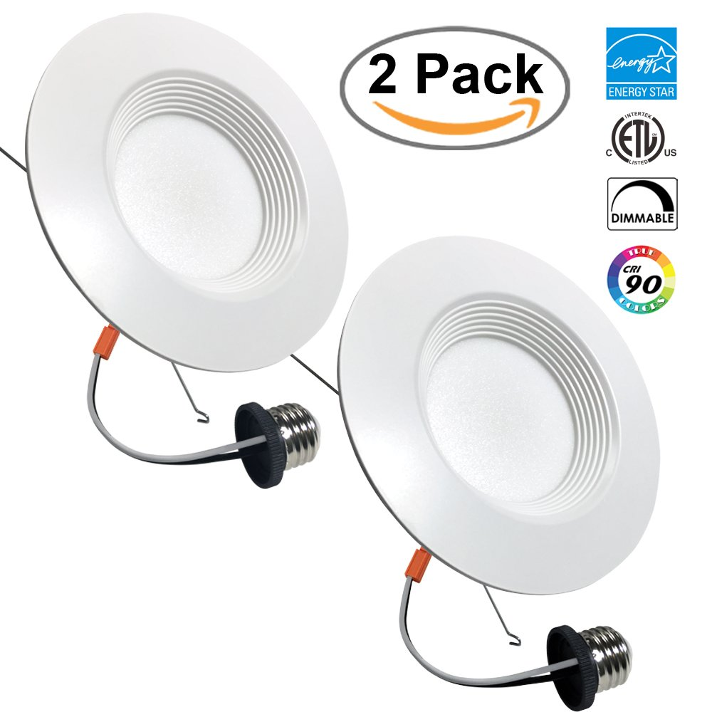 2 PACK 6-inch LED Recessed Retrofit Downlight, 12W (100W Replacement), 5000K, Day White, 1030 Lumens, Round Lens, ETL Listed, EnergyStar, Dimmable