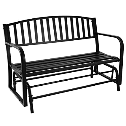 Sunnydaze Outdoor Garden Bench 50 Inch, Metal Glider Patio Seat, Black