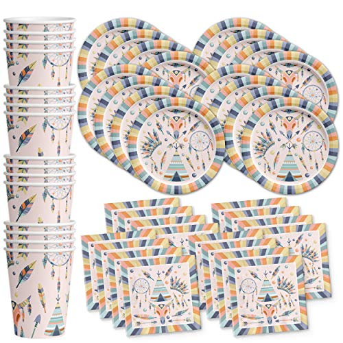 Arrow Plates - Tribal Boho Birthday Party Supplies Set Plates Napkins Cups Tableware Kit for 16