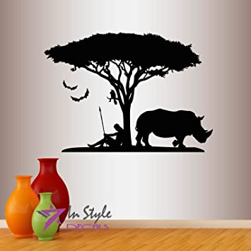 Amazoncom Wall Vinyl Decal Home Decor Art Sticker Africa - Wall decals animalsafrican savannah wall sticker decoration great trees with