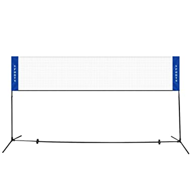 GOPLUS Portable Badminton Net Beach Volleyball Tennis Competition Training Net 2.5' to 5' Adjustable Height with Carrying Bag