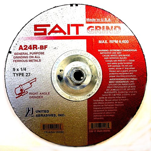 United Abrasives- SAIT 20096 Type 27 9-Inch x 1/4-Inch x 5/8-11 6600 Max RPM Grade A24R Long Life Depressed Grinding Wheels, 10-Pack by United Abrasives- SAIT