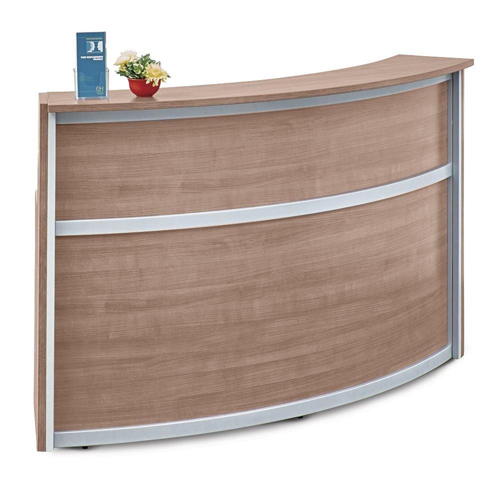 Laminate Curved Reception Desk - 72''W x 30''D Stone Walnut Laminate/Silver Trim Dimensions: 72.13''W x 29.84''D x 42''H Weight: 177 lbs.Line Drawing