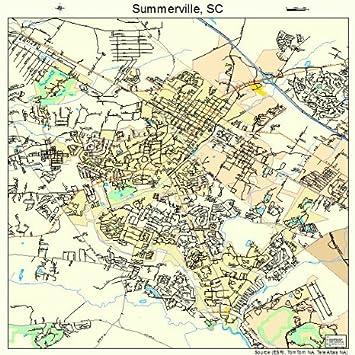 Amazon.com: Large Street & Road Map of Summerville, South Carolina ...