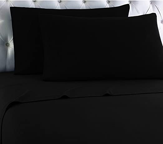 Amazon Com Empire Home 100 Cotton Flannel Deep Pocket Fitted Sheet Only Black Twin Home Kitchen