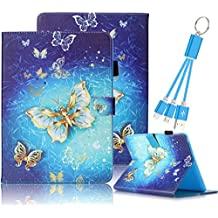 Galaxy Tab 4 7.0 Case,Vandot PU Leather Auto Wake/Sleep Magnetic Stand Wallet Case [Card Slots] Flip Folio Cover Colorful Painting Pattern for Samsung Galaxy Tab 4 7.0 inch SM-T230 T231+USB Cable-Gold Blue Butterfly