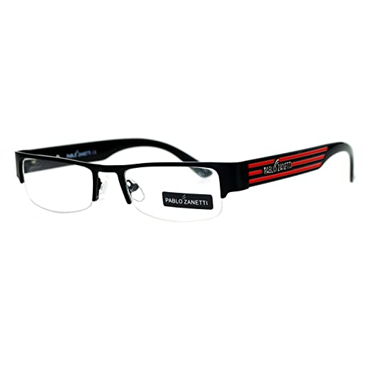 a23f52b2ec4 Pablo Zanetti Narrow Rectangular Half Exposed Lens Eye Glasses Black Red