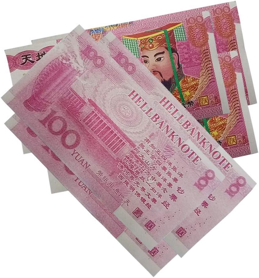 de Faux Billets de Banque Chinois pour Les fun/érailles Le Festival de Qingming et Le Festival des fant/ômes affam/és Balai 100 pcs de Billets de Banque Chinois