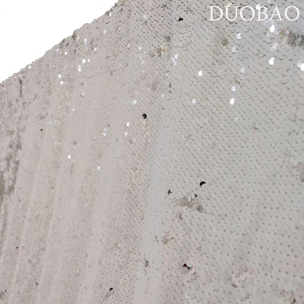DUOBAO Sequin Backdrop 20FTx10FT White to Silver Wedding Pics Backdrop Mermaid Reversible Sequin Photo Backdrop Baby Shower Curtains by DUOBAO (Image #5)
