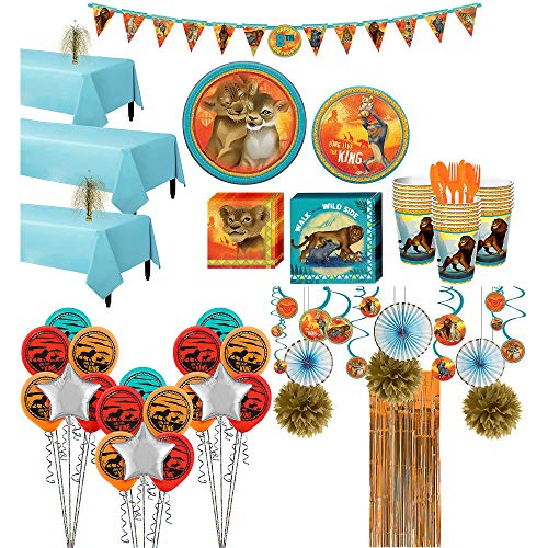 Party City Super Lion King Party Supplies for 24 Guests, 244 Pieces, Includes Tableware, Decorations, Balloons, Ribbon]()